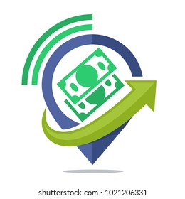 logo icon for communication media, sharing location information source of income, wealth, funding, loan money, about other financial business