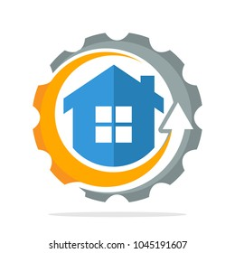 logo icon with the concept of construction project implementation process