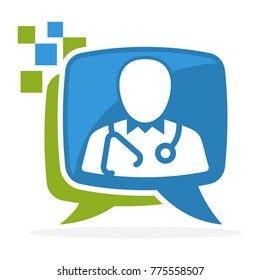 logo icon with the concept of media consultation with the doctor