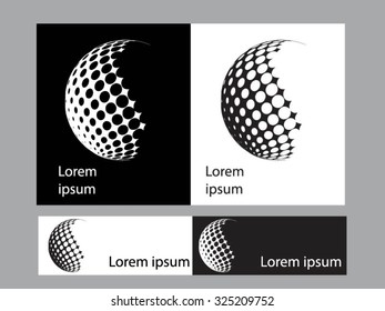 Logo icon design and Business cards set. Black and white symbol.