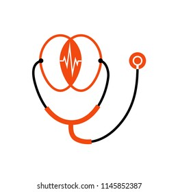 Logo icon design concept. Two merged heads listening through a stethoscope