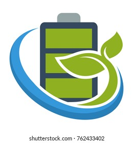logo icon with eco-friendly battery concept, for technonology business