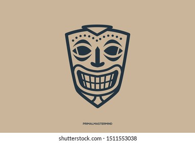 Logo icon of ethnic mask / character  smiling, Symbolize power, mastermind, planner, behind the scene.