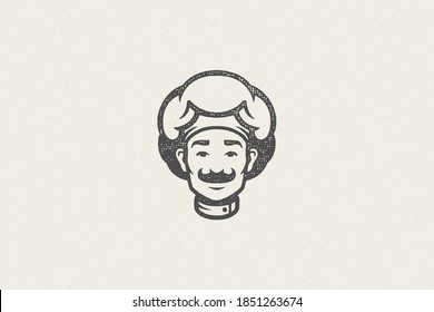 Logo icon head of smiling male cook silhouette in chef hat hand drawn stamp effect vector illustration. Vintage grunge texture emblem for package and menu design or label decoration.