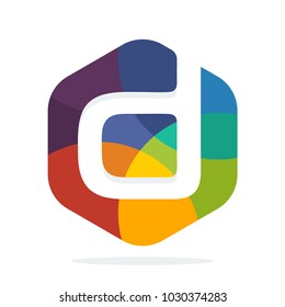 logo icon hexagon shape with colorful concept with a combination of initial letter D