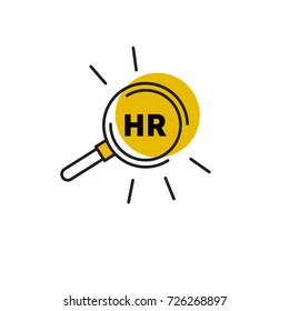Logo, icon human resources, hr. Stock vector