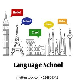 Logo icon - illustration language school. Illustration with various famous monuments of Europe