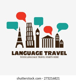 "Logo icon - Illustration language travel. Language poster design with diversity famous monuments and  speech bubbles. Inscription ""Your language travel starts here """