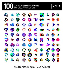 Logo and Icon Mega Collection. Set 0f 100 Colorful Abstract Geometric Logo and Icon