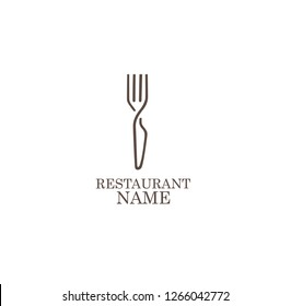 LOGO, ICON RESTAURANT. WITH A SPOON OR FORK, LINE ART, SIMPLE