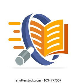 logo icon with search concept, reading, reviewing book. Illustrated with a magnifying glass and open book.