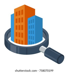 logo icon with search / review / inspection concept, for real estate / building inspector business, illustrated with magnifying glass and building