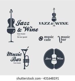 Logo, icon set for jazz bar, music cafe