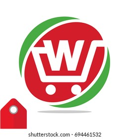 Logo icon for shopping business, illustrated in circle logo with the visual concept of shopping cart and the initials name, letter W