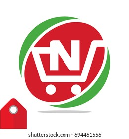 Logo icon for shopping business, illustrated in circle logo with the visual concept of shopping cart and the initials name, letter N