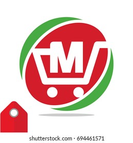 Logo icon for shopping business, illustrated in circle logo with the visual concept of shopping cart and the initials name, letter M