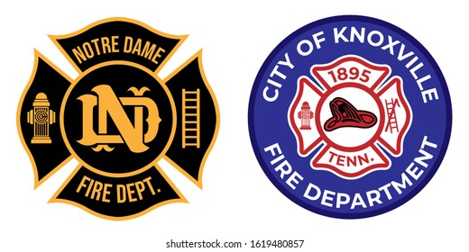 Logo Icon Sign Firefighter Vector. Symbol of firefighter. Eps 10 vector. Notre Dame firefighter symbol. City of Knoxville fire department logo.