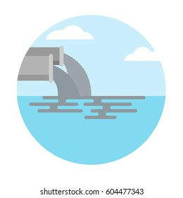 logo icon of water pollution from industry.dirty waste water in the sea