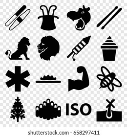 Logo icons set. set of 16 logo filled icons such as lion, hippopotamus, no hair in skin, sawing, ice cream in can, pine-tree, bee, medical sign, harmonica, drum stick