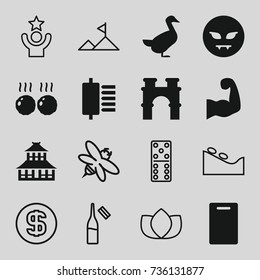 Logo icons set. set of 16 logo filled and outline icons such as goose, arch, temple, cutting board, devil emot, meat, muscular arm, lotus, spa stone, domino, bee, ampule