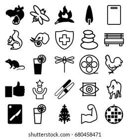 Logo icons set. set of 25 logo filled and outline icons such as chili, hippopotamus, mouse, sawing, pine-tree, cocktail, chopping board and knife, squirrel, chicken, buffalo