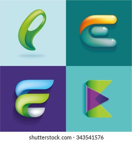 Logo idea of letter E set
