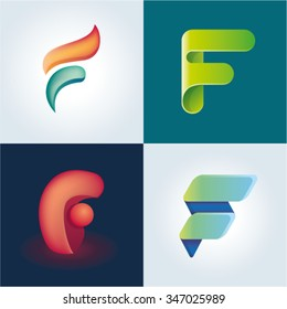 Logo idea of letter F set