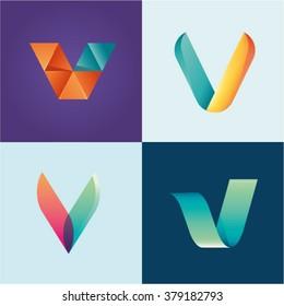 Logo idea of letter V set
