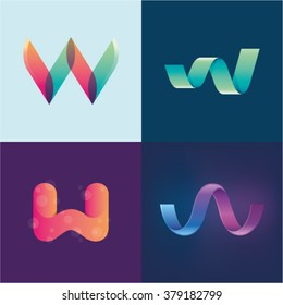 Logo idea of letter W set