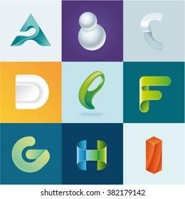 Logo idea of letters A B C D E F G H I set
