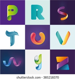 Logo idea of letters P R S T U V W Y Z set