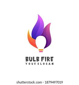Logo Illustratiom Bulb And Fire Colorful Gradient Vector Design
