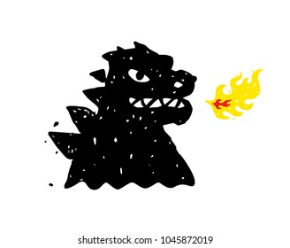 Logo, illustration of godzilla, dragon. Vector flat logo. Image is isolated on white background. Sign, mascot of the company. Corporate identity. Fire-breathing dragon logo.