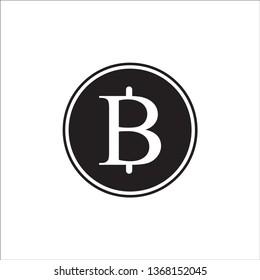 Logo illustration, Thai baht sign currency Thailand vector, baht coin vector