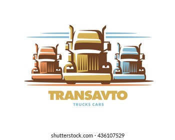 Logo illustration trucks, front view, white background