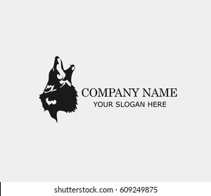 Logo illustration of a wolf  simple flat style