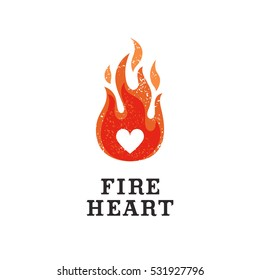 The logo with the image of a fiery heart.