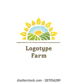 The logo with the image of sunflowers and fields