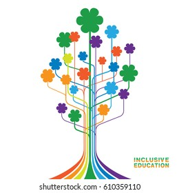 Logo for inclusive education, concept of equality of different people. Abstract tree with flowers of rainbow colors.