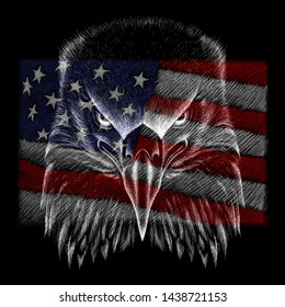 The logo Independence eagle Day July 4th for tattoo or T-shirt design or outwear.  Cute print Independence eagle Day July 4th style background.
