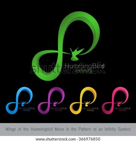 Logo Infinity Bird Wings Hummingbird Move Stock Vector Royalty Free