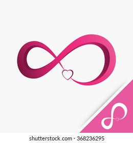 Logo infinity with heart love on white background Vector illustration