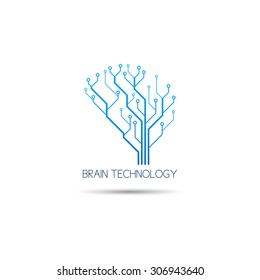 Logo of information technology vector illustration. Concept of logo in the form of a brain or tree with circuit board.