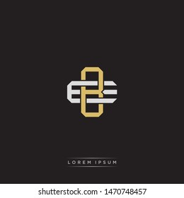 Logo initial BE B E EB monogram letter vintage style gold and grey colors isolated on black background