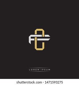 Logo initial CF C F FC monogram letter vintage style gold and grey colors isolated on black background