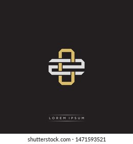 Logo initial CZ C Z ZC monogram letter vintage style gold and grey colors isolated on black background