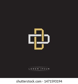Logo initial DD D monogram letter vintage style gold and grey colors isolated on black background