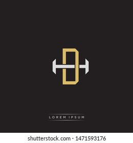 Logo initial DH D H HD monogram letter vintage style gold and grey colors isolated on black background