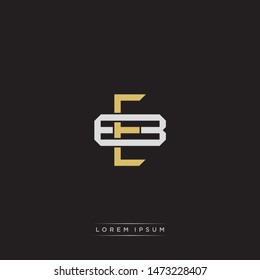 Logo initial EB E B BE monogram letter vintage style gold and grey colors isolated on black background