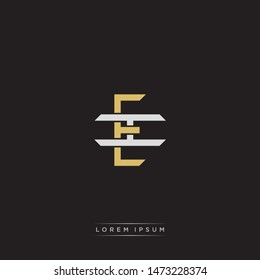 Logo initial EI E I IE monogram letter vintage style gold and grey colors isolated on black background